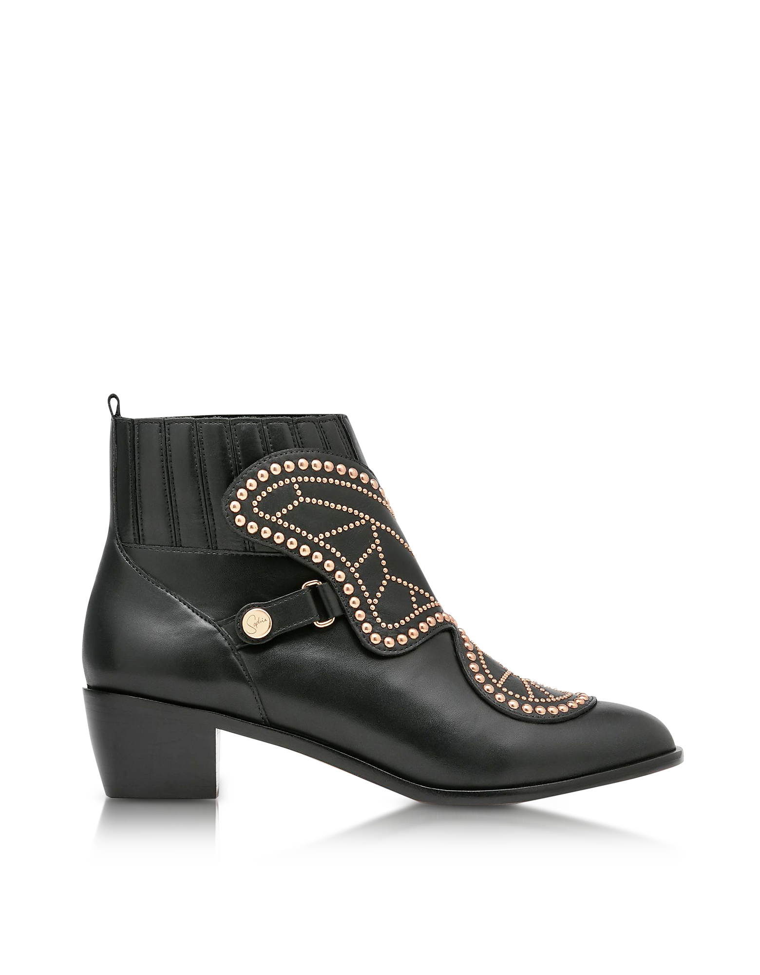 Sophia Webster Black Studded Leather Karina Mid Ankle Boots