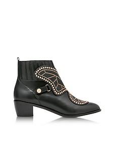 Black Studded Leather Karina Mid Ankle Boots - Sophia Webster