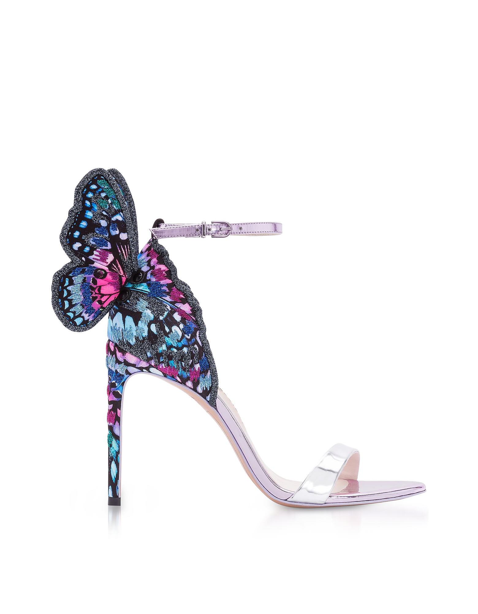 Sophia Webster Shoes, Silver and Blue Chiara Embroidery Sandals