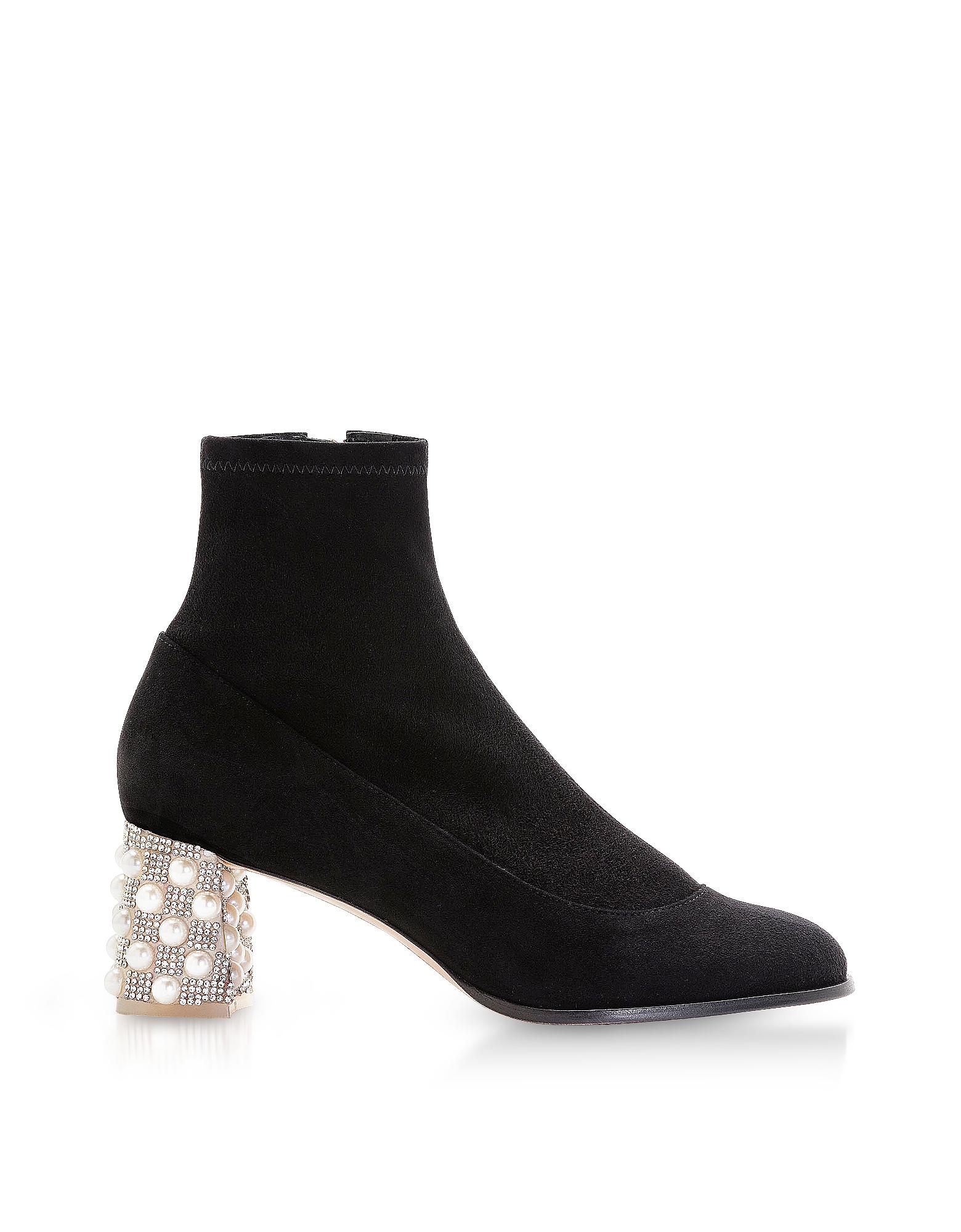 Image of Sophia Webster Designer Shoes, Black Felicity Mid Ankle Boots