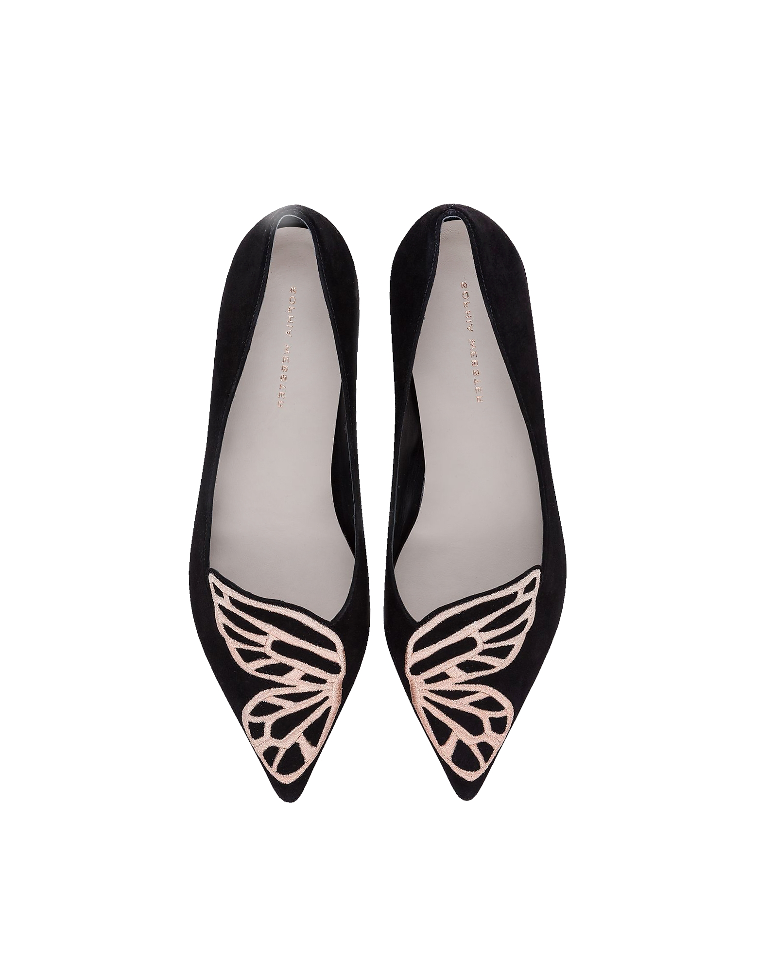 Black Suede and Rose Gold Bibi Butterfly Flat Ballerinas