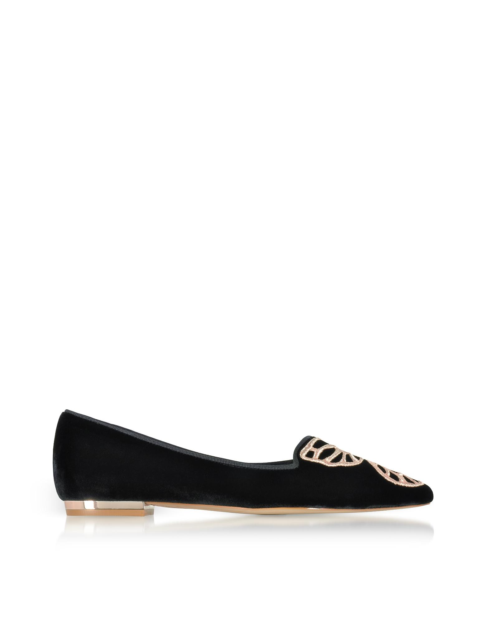 Sophia Webster Shoes, Black Velvet Bibi Butterfly Flat Ballerinas
