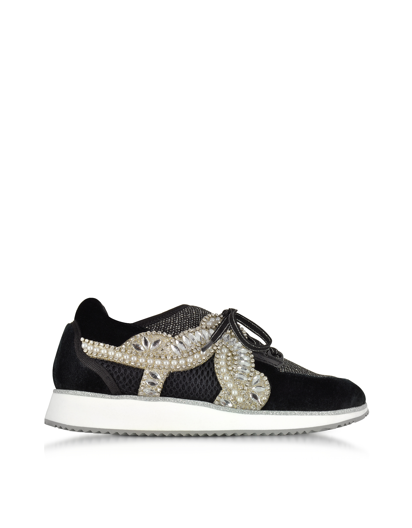 Sophia Webster Shoes, Royalty Black Low Top Sneakers