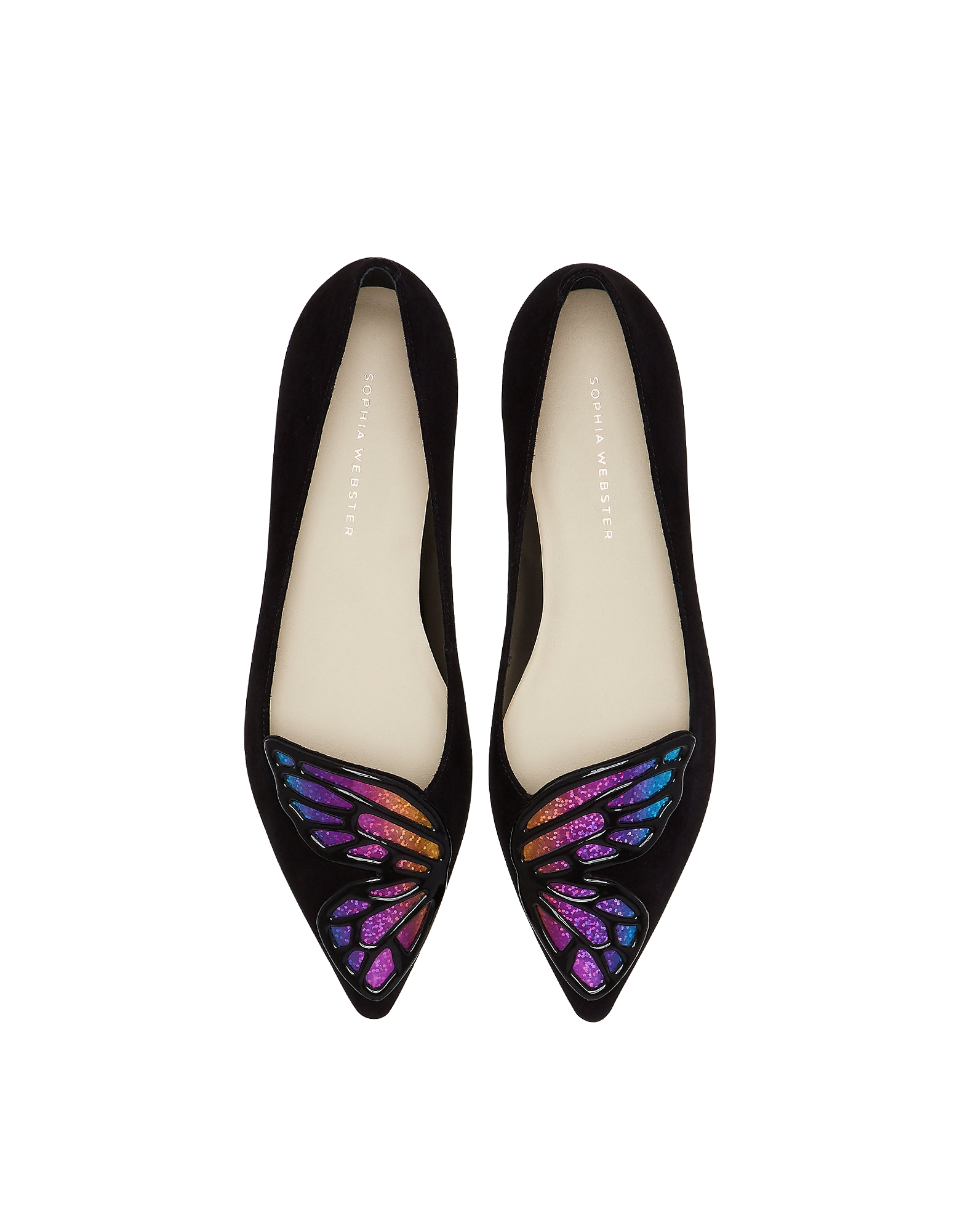 Black & Rainbow Butterfly Flat Ballerinas