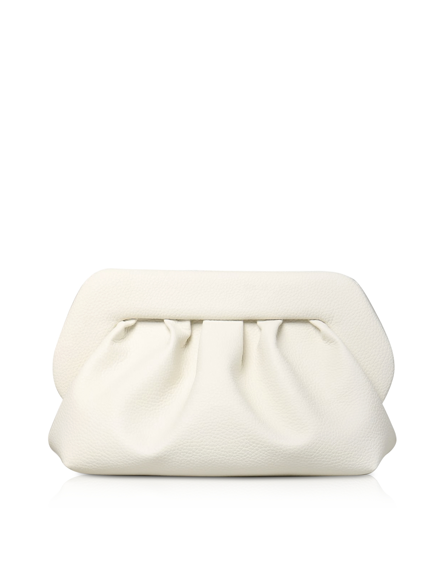 THEMOIRÉ Designer Handbags, White Grained Leather Pouch Bag