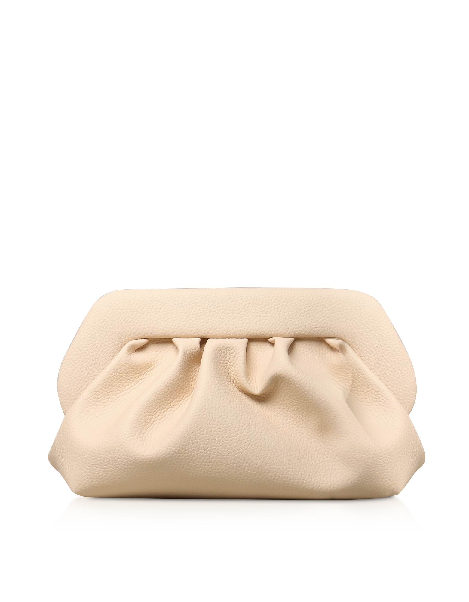 THEMOIRÉ Designer Handbags, Cream Grained Leather Pouch Bag