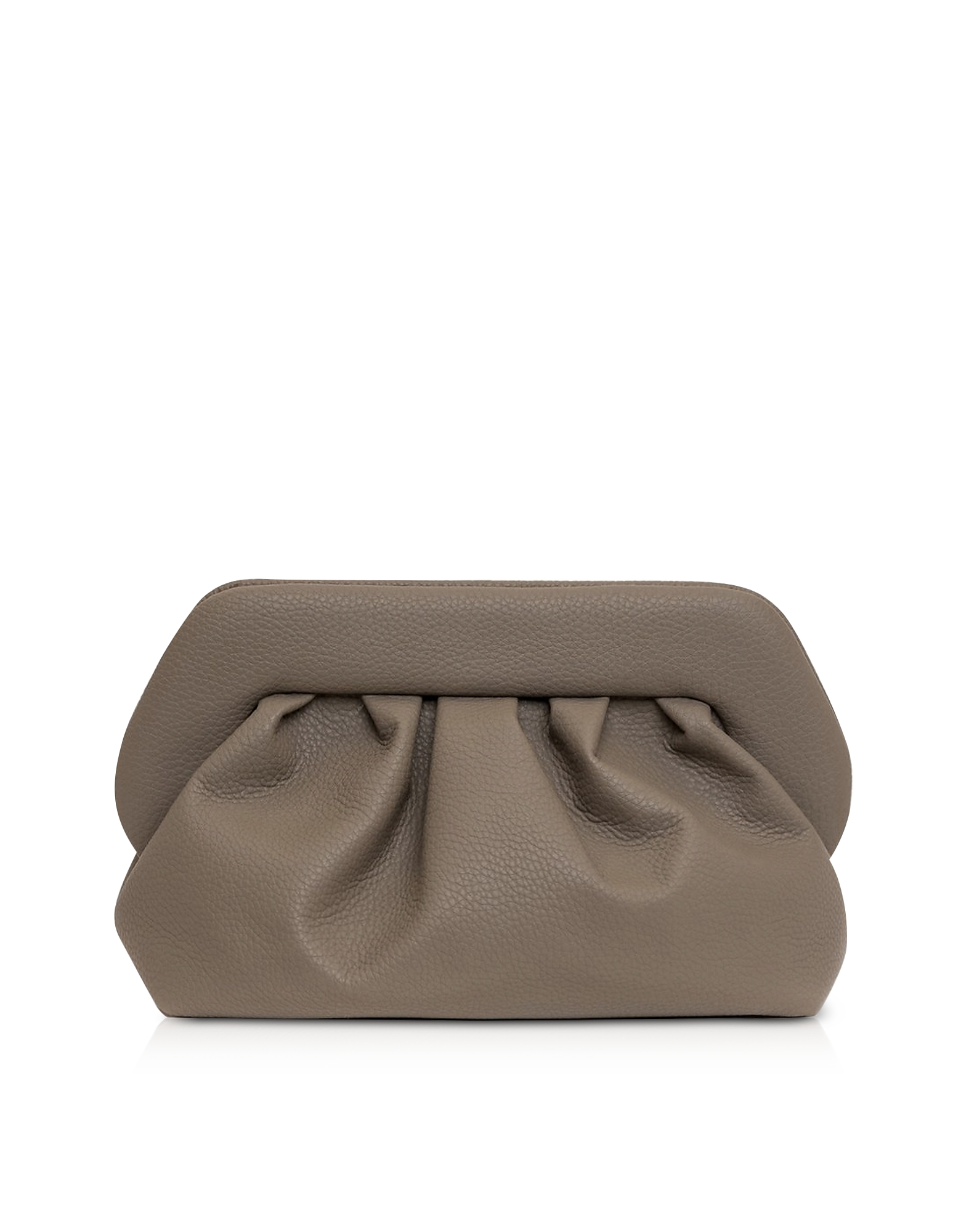 THEMOIRÉ Designer Handbags, Mushroom Grained Leather Pouch Bag