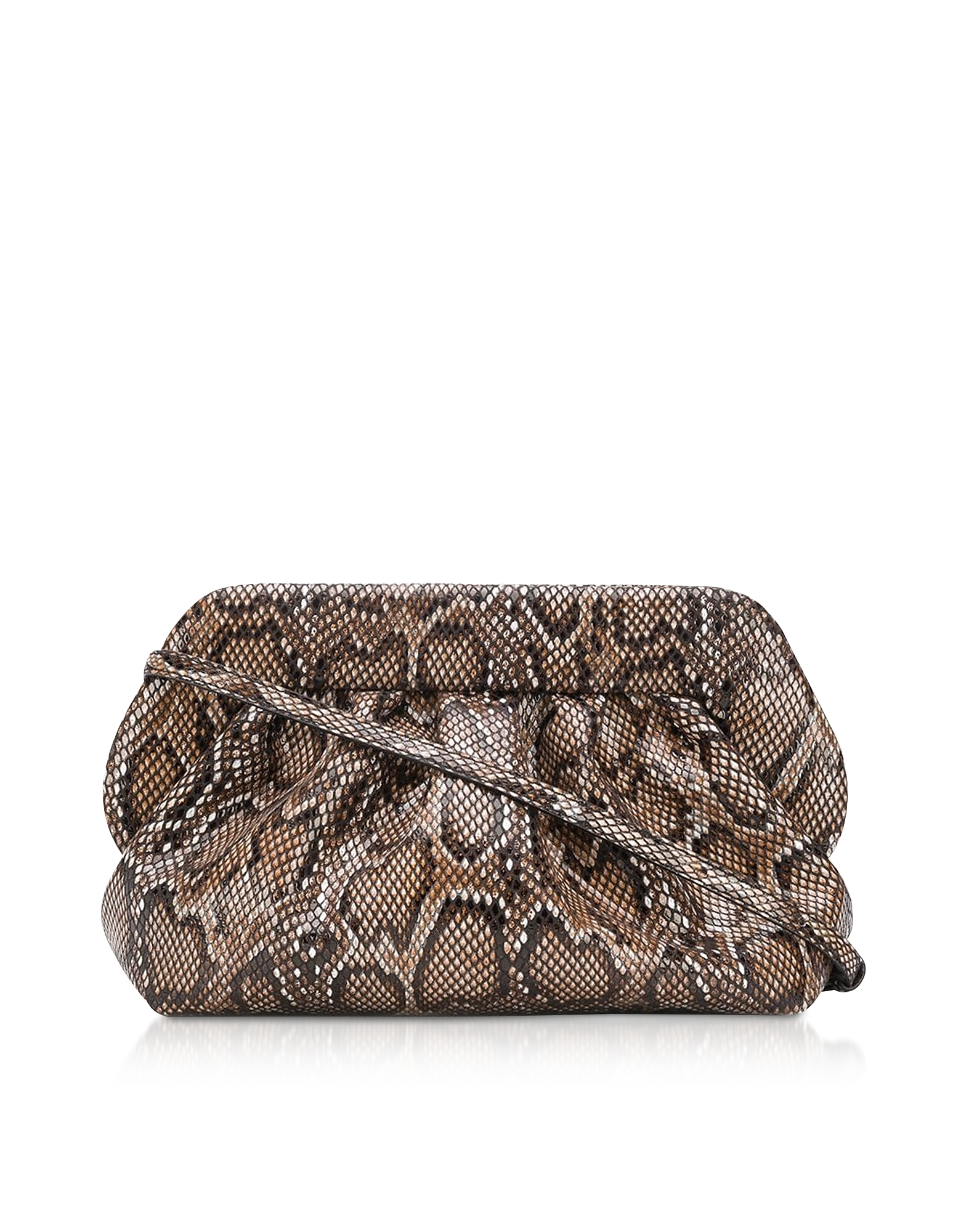 THEMOIRÉ Designer Handbags, Dark Python Printed Eco Leather Pouch Bag