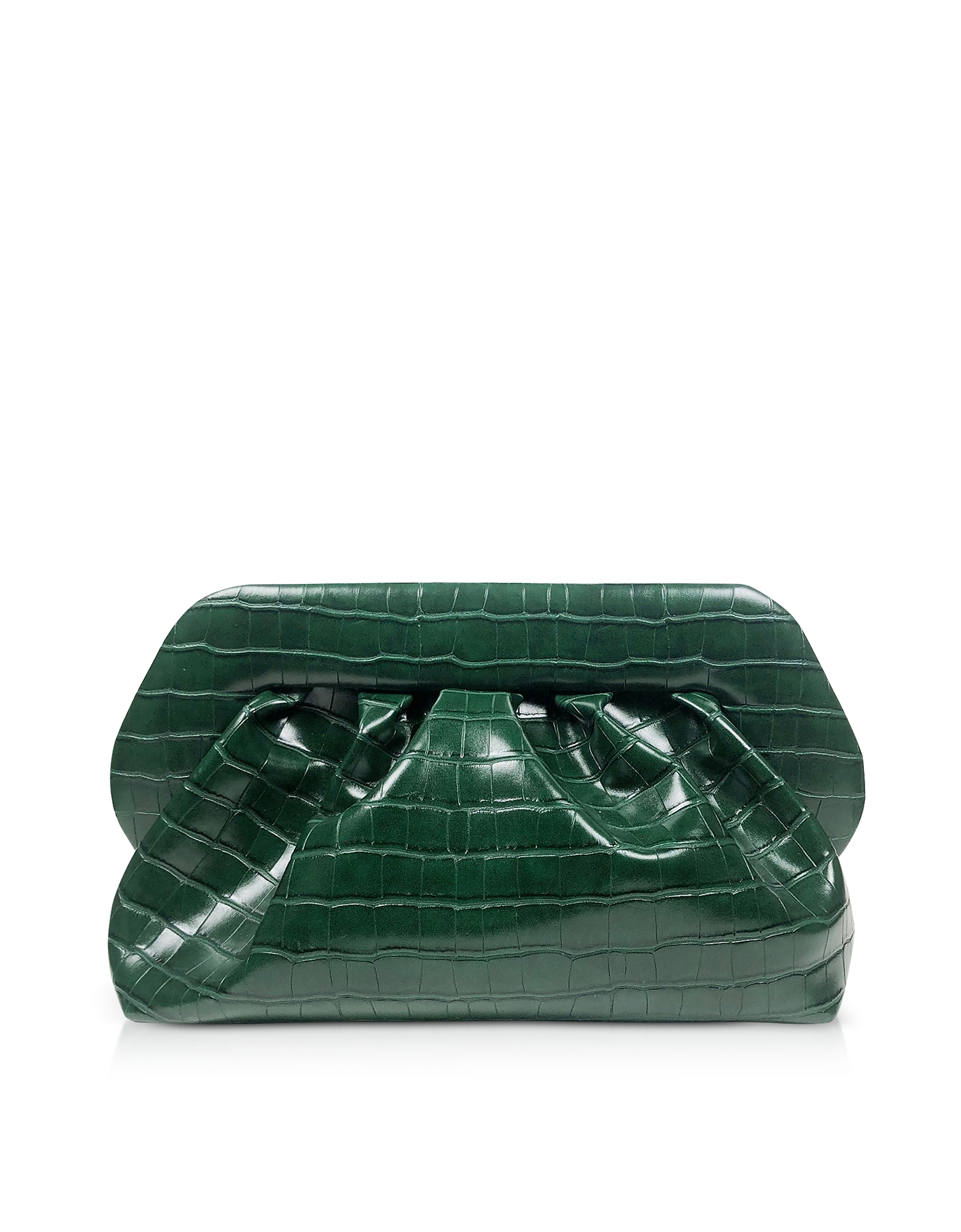 THEMOIRÉ Designer Handbags, Green Croco Embossed Eco-Leather Pouch Bag