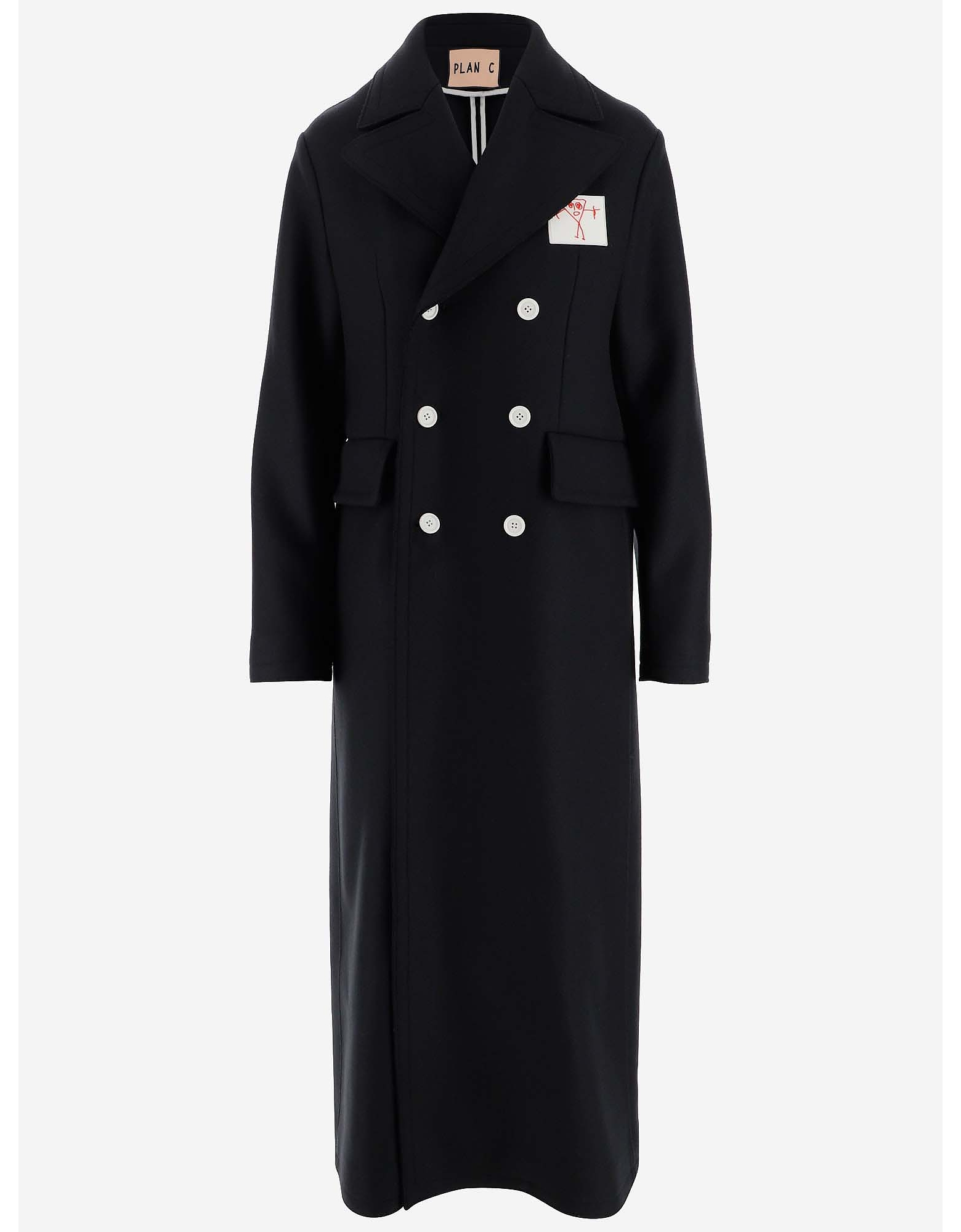 Plan C Designer Coats & Jackets, Dark blue Wool Double-breasted Overcoa
