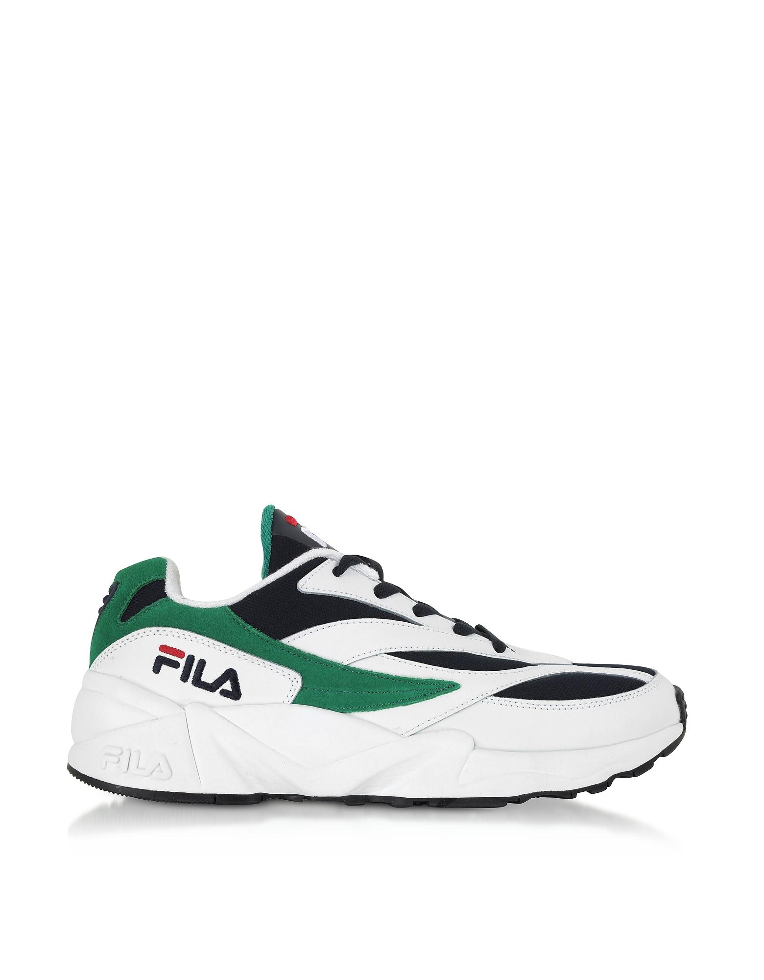 FILA Designer Shoes, V94M Low White & Navy Blue Men's Sneakers