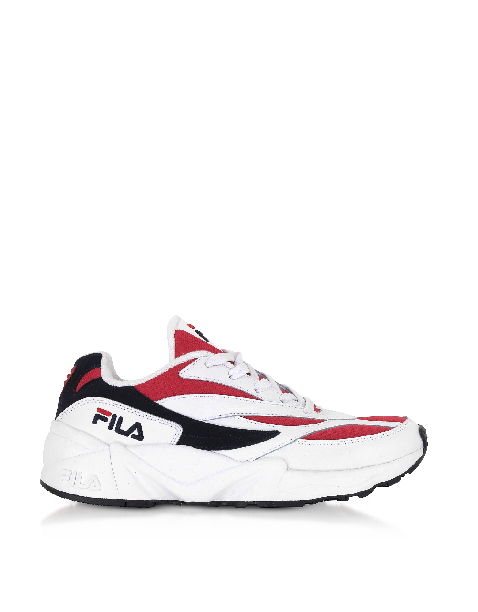 FILA Designer Shoes, V94M Low White & Red Men's Sneakers