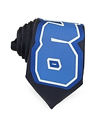 Moschino Cravatta Slim in Twill di Seta Blu Navy con Logo Moschino - moschino - it.forzieri.com
