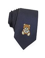 Moschino Cravatta Slim in Twill di Seta con Logo Teddy Bear - moschino - it.forzieri.com