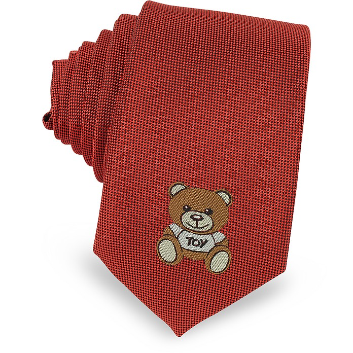 Moschino Teddy Bear Solid Silk Jacquard Narrow Tie - Moschino