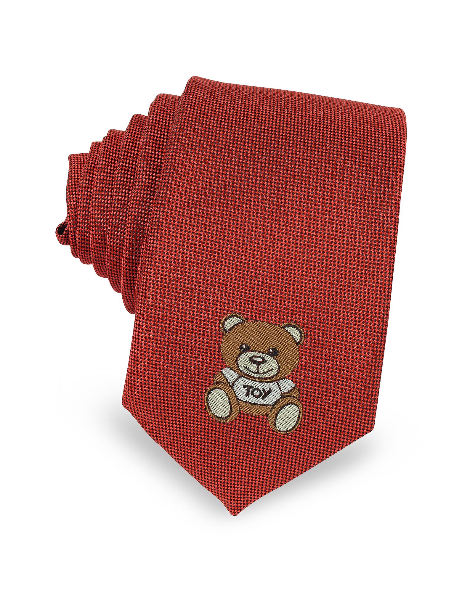 Moschino Teddy Bear - Однотонный Узкий Галстук из Жаккардового Шелка