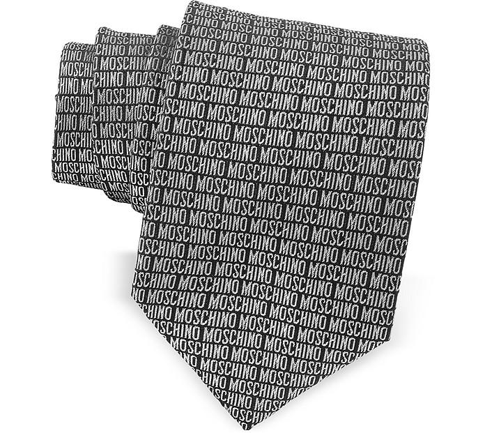 Moschino Signature Print Black & Gray Jacquard Silk Tie - Moschino
