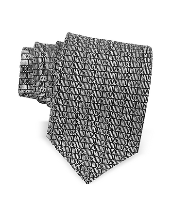 Moschino - Moschino Signature Print Black & Gray Jacquard Silk Tie
