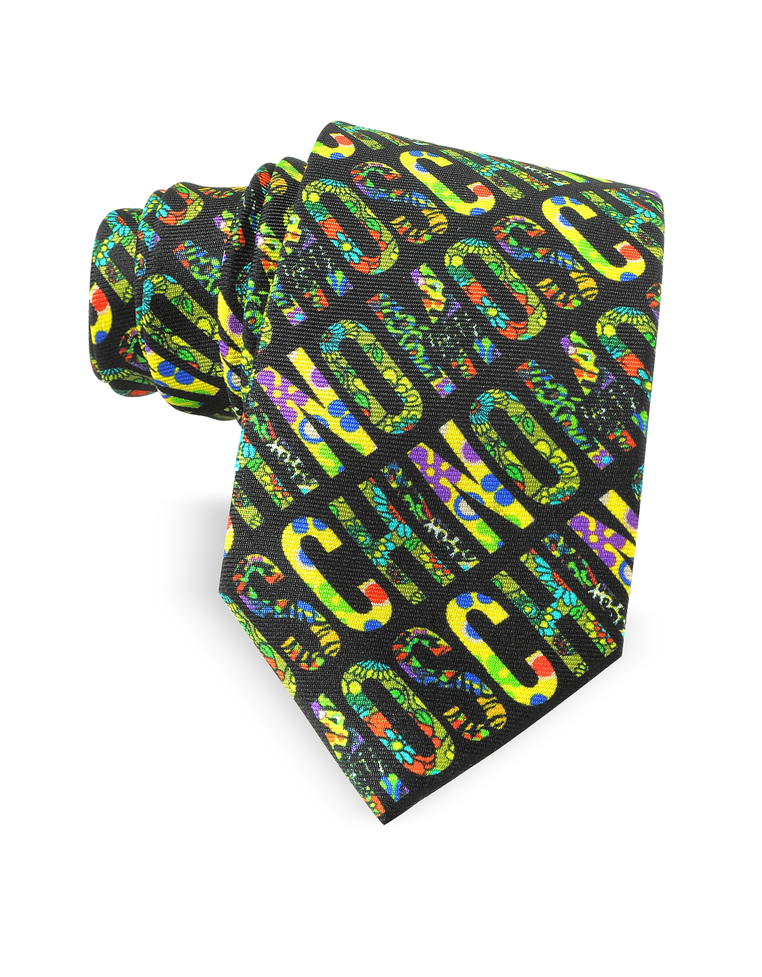Moschino Ties, Black & Multicolor Moschino Signature Print Twill Silk Narrow Tie