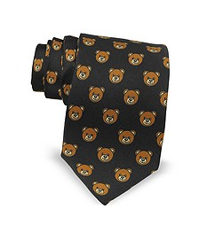 Black Multi Teddy Bear Print Twill Silk Narrow Tie  - Moschino