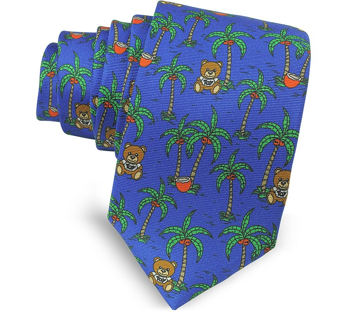 Blue Palms and Teddy Bears Printed Twill Silk Narrow Tie - Moschino