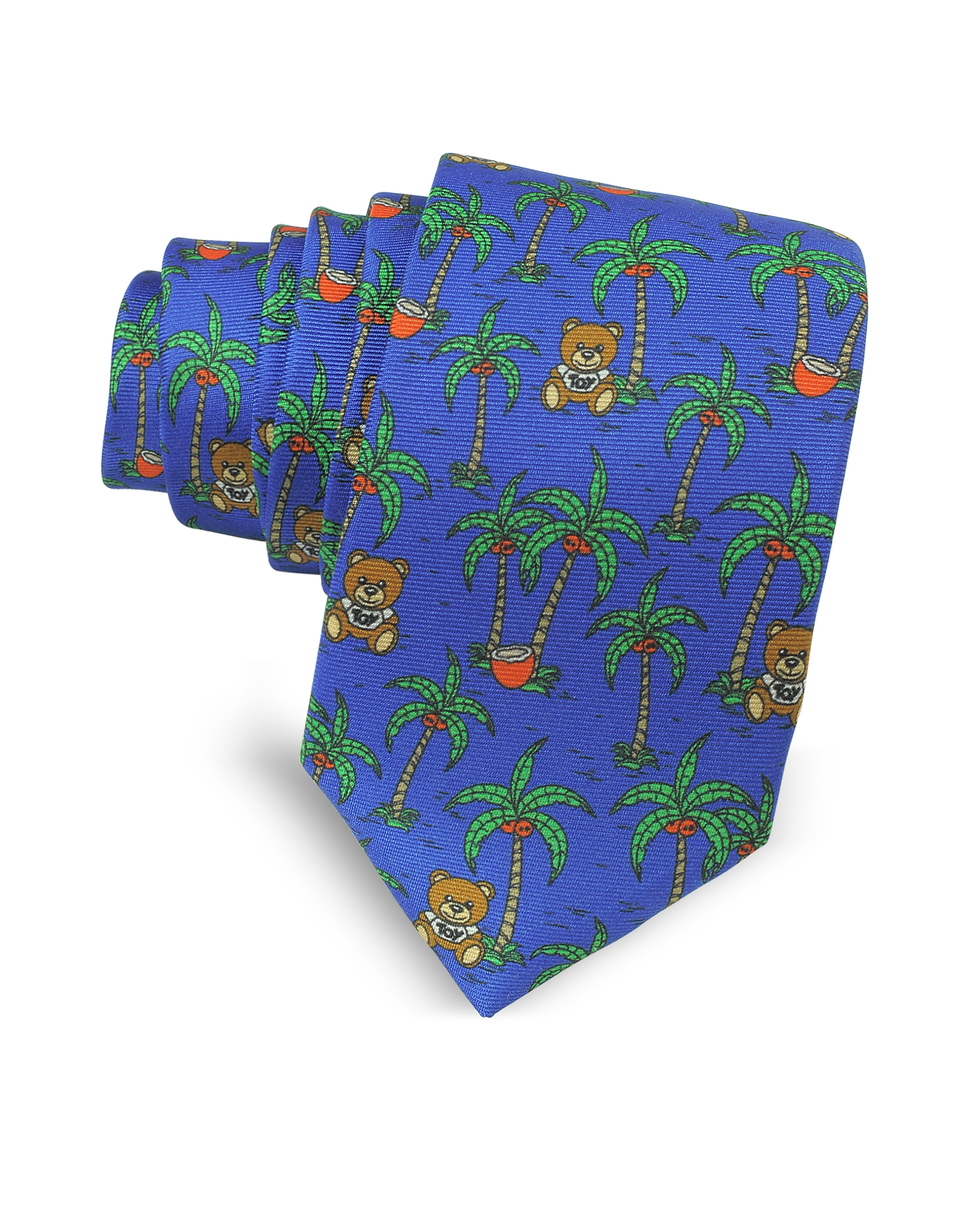 Moschino Ties, Blue Palms and Teddy Bears Printed Twill Silk Narrow Tie