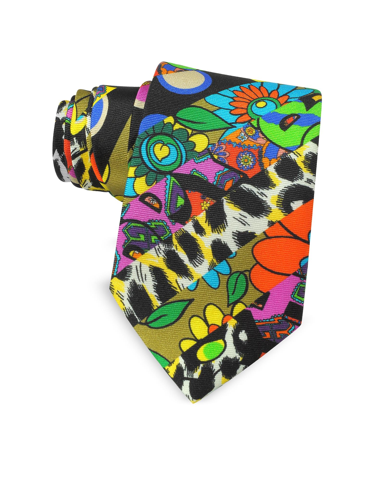Узкий Галстук из Твилового Шелка с Разноцветным Принтом Animal и Цветами