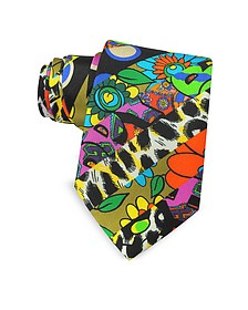 Corbata en Seda Estampado Cartoon Multicolor - Moschino