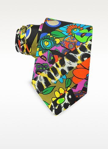 Multicolor Animal Print & Flowers Printed Twill Silk Narrow Tie - Moschino