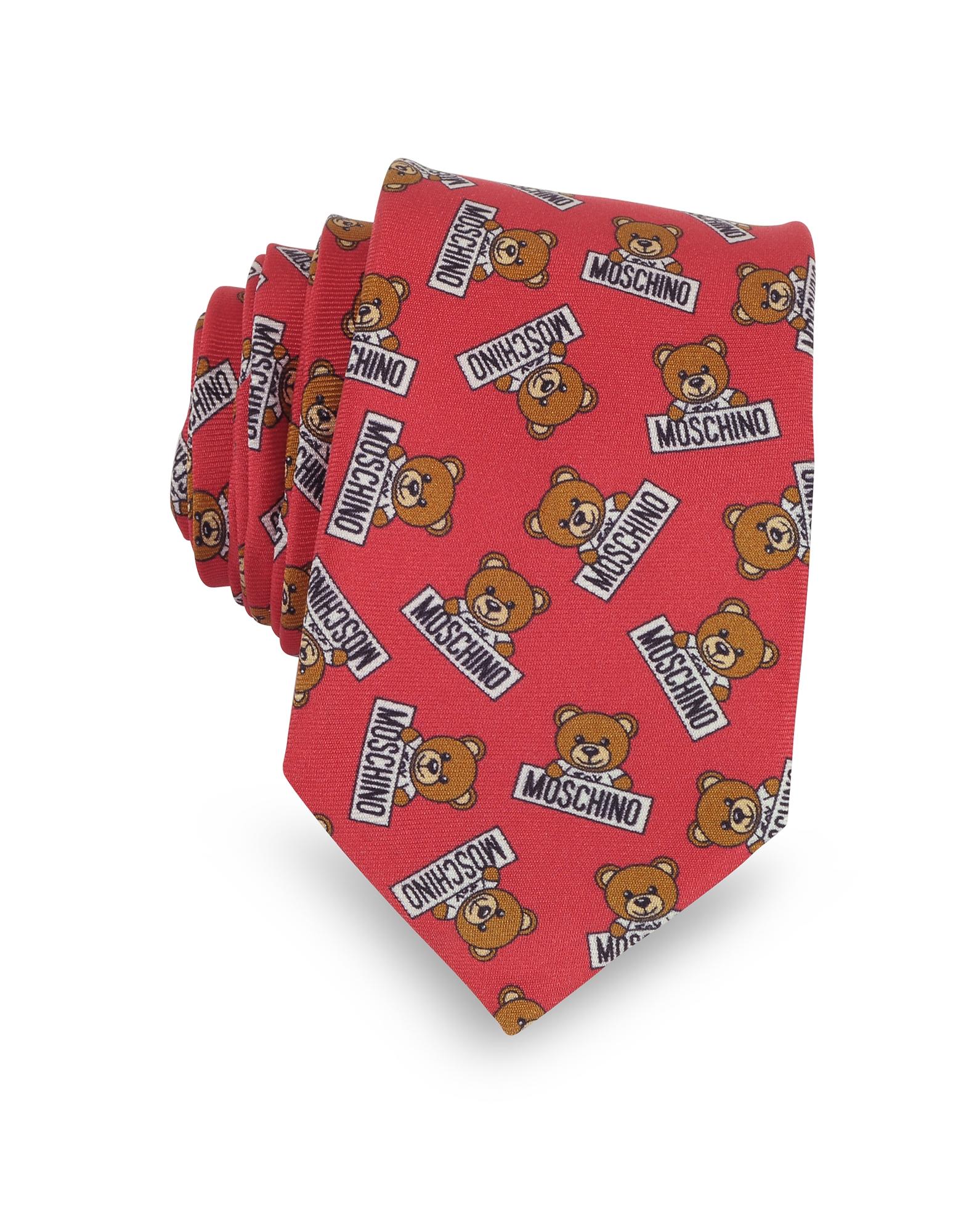 Moschino Ties, Teddy Bear All Over Printed Silk Narrow Tie