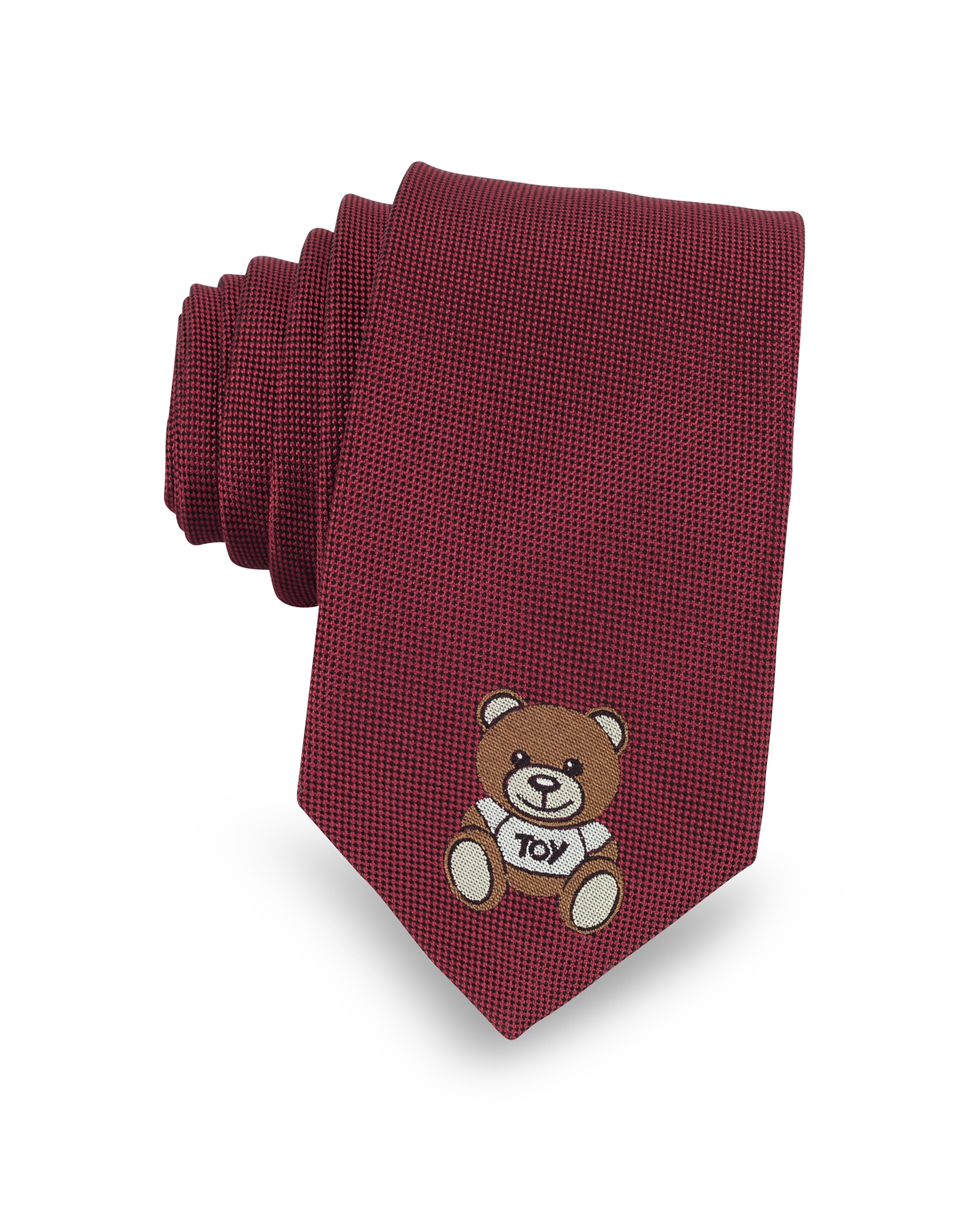 Moschino Ties, Teddy Bear Woven Silk Narrow Tie