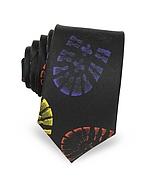 Moschino Moschino Cravatta Slim in Seta Nera con Stampa Impronta di Scarpa Multicolor - moschino - it.forzieri.com