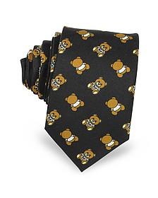 Moschino Multi Teddy Bear Black Twill Silk Narrow Tie - Moschino