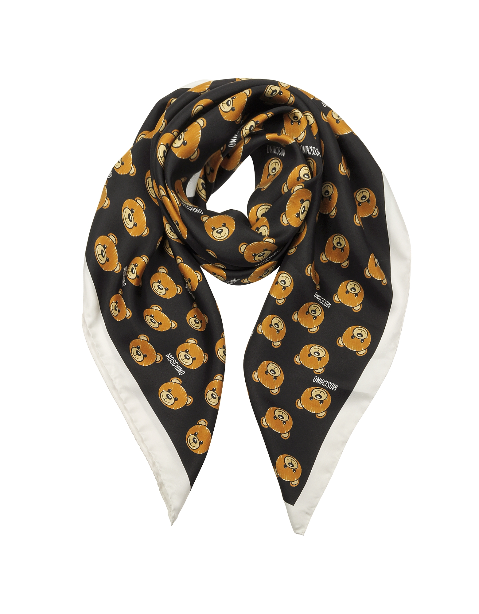 All-over Teddy Bear Printed Twill Silk Square Scarf