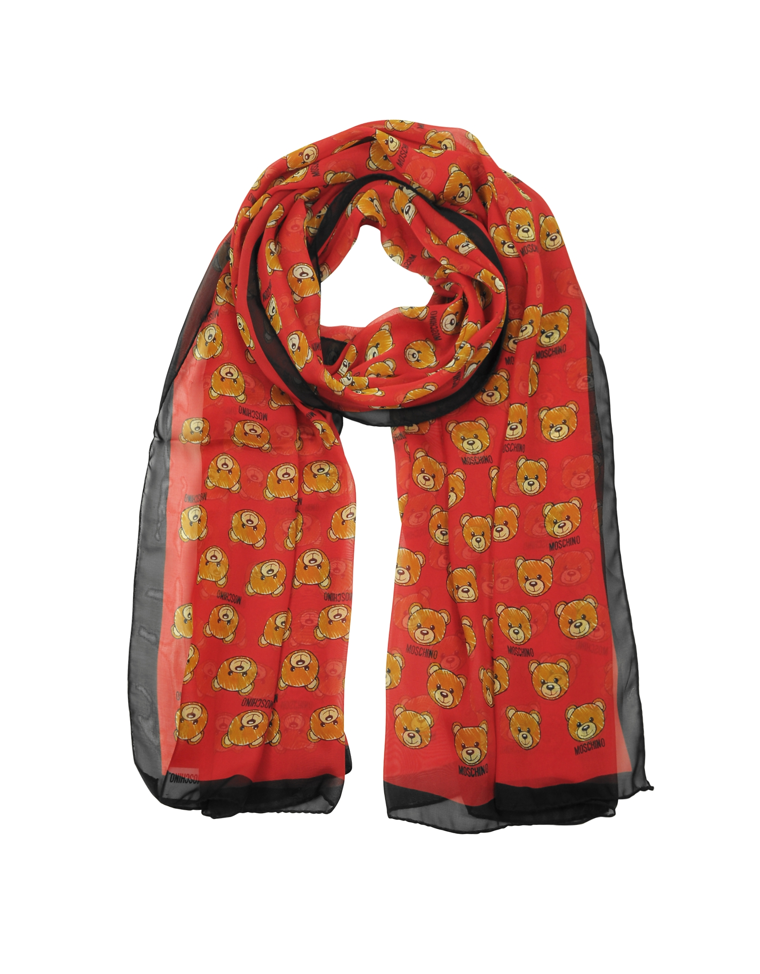 All-over Teddy Bear Printed Mussoline Silk Stole