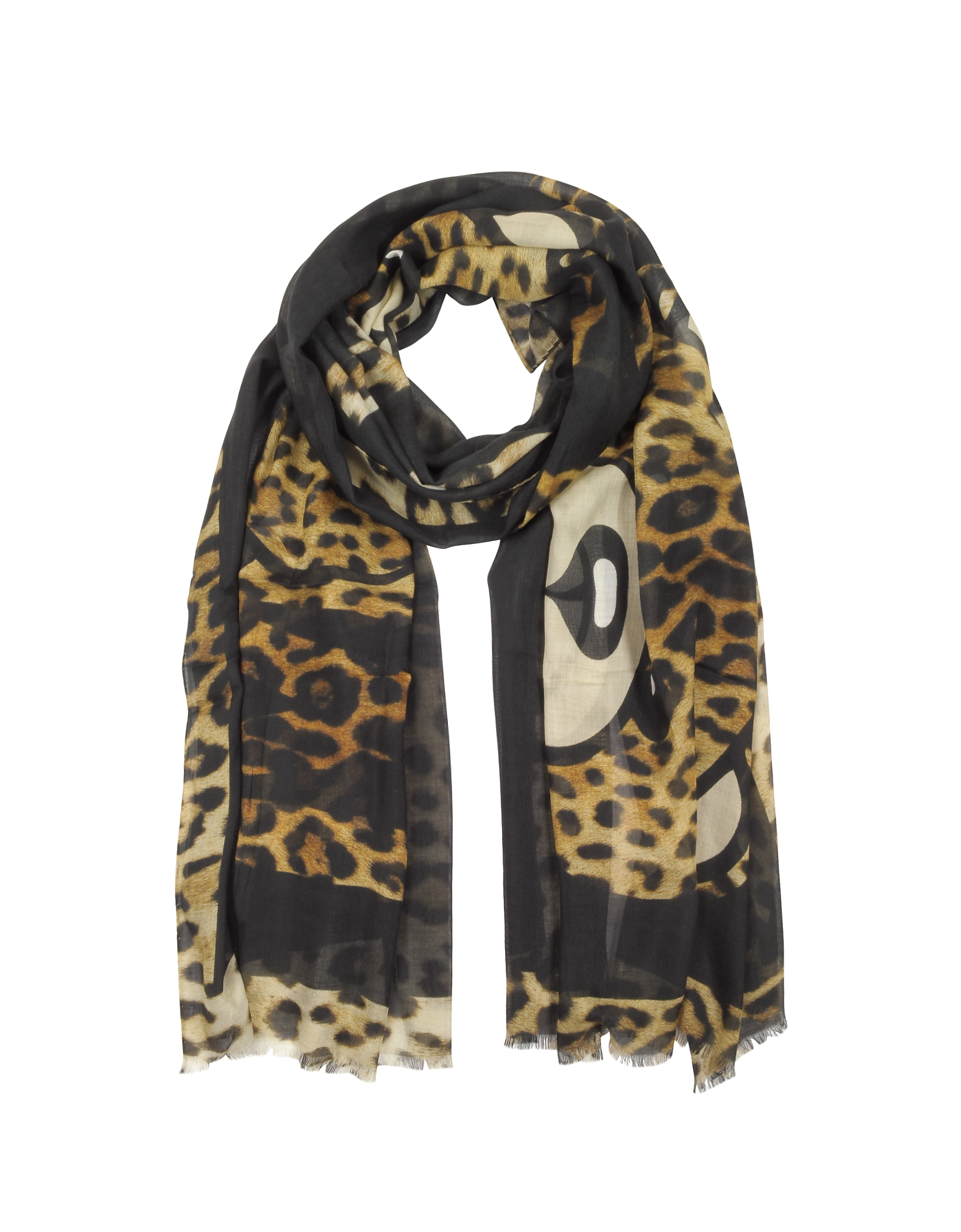 Animal Printed Teddy Bear Modal and Silk Stole