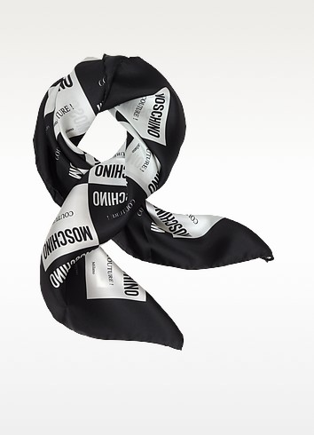 Moschino Couture Milano Print Twill Silk Square Scarf - Moschino