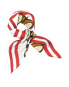 Red & White Teddy Bears Printed Twill Silk Square Scarf - Moschino