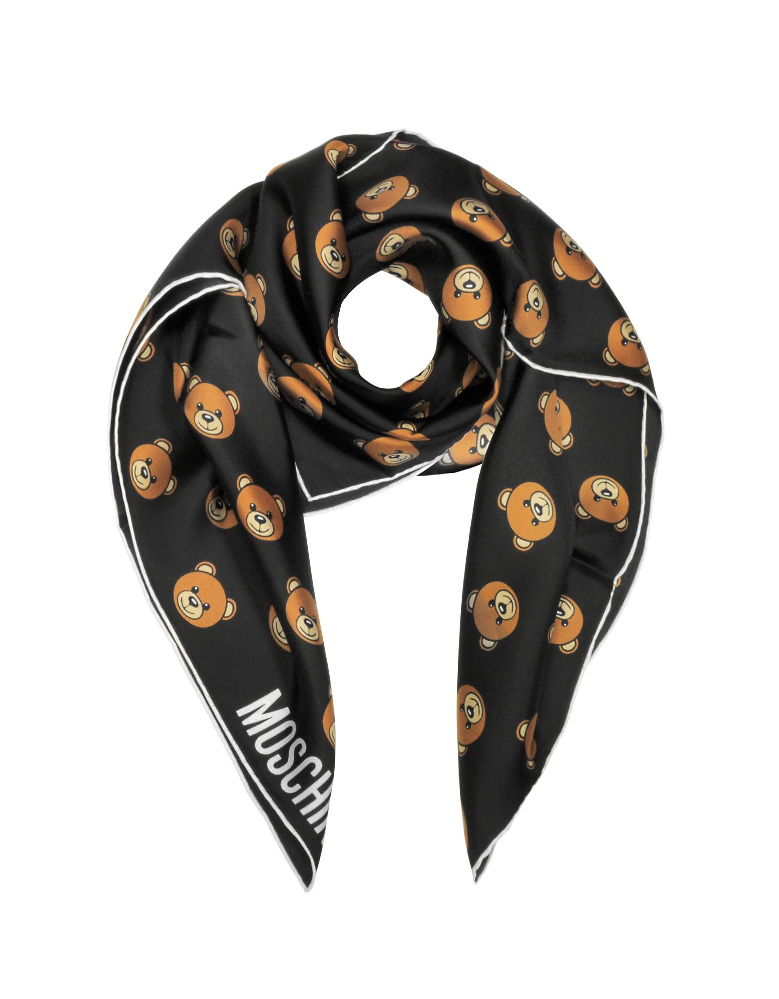 Black Multi Teddy Bear Print Twill Silk Square Scarf от Forzieri.com INT