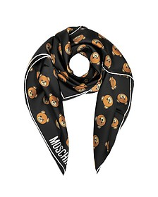 Black Multi Teddy Bear Print Twill Silk Square Scarf - Moschino