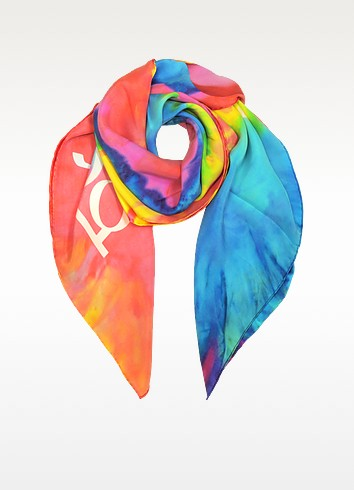 Multicolor Indian Elephant Print Silk Square Scarf - Moschino