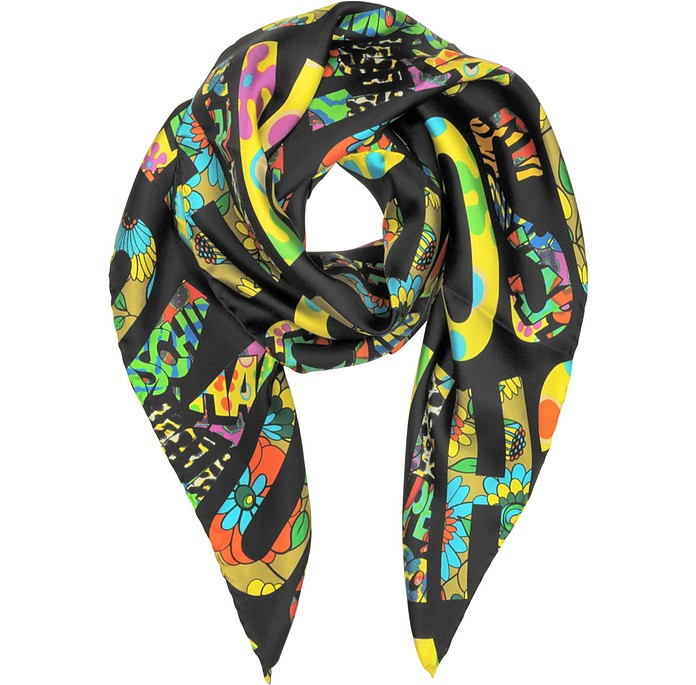 Black & Multicolor Moschino Signature Print Twill Silk Square Scarf - Moschino