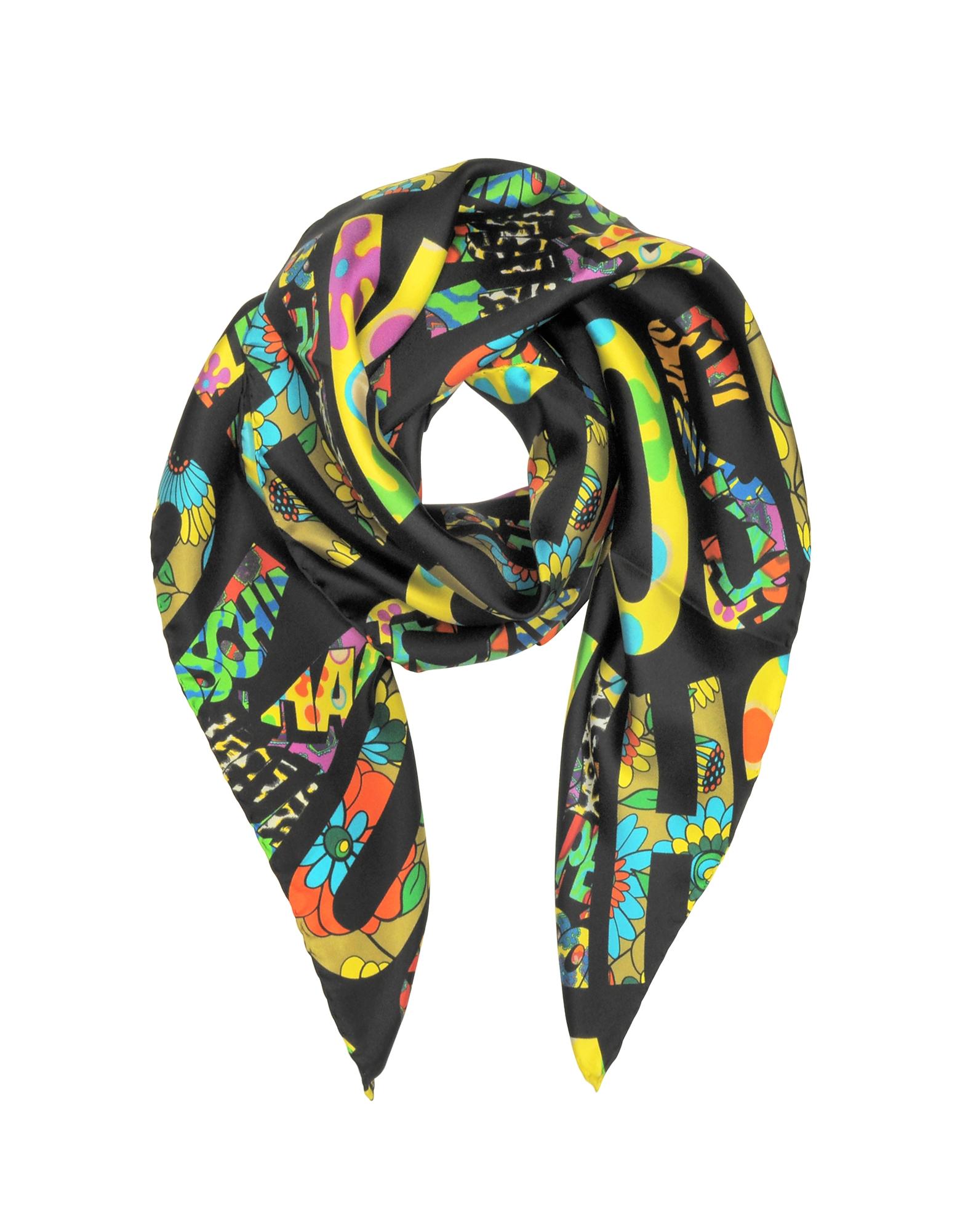 Фото Черная Косынка и Твилового Шелка с Разноцветным Принтом. Купить с доставкой