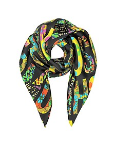Black & Multicolor Moschino Signature Print Twill Silk Square Scarf - Moschino
