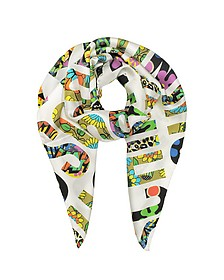 White & Multicolor Moschino Signature Print Twill Silk Square Scarf - Moschino