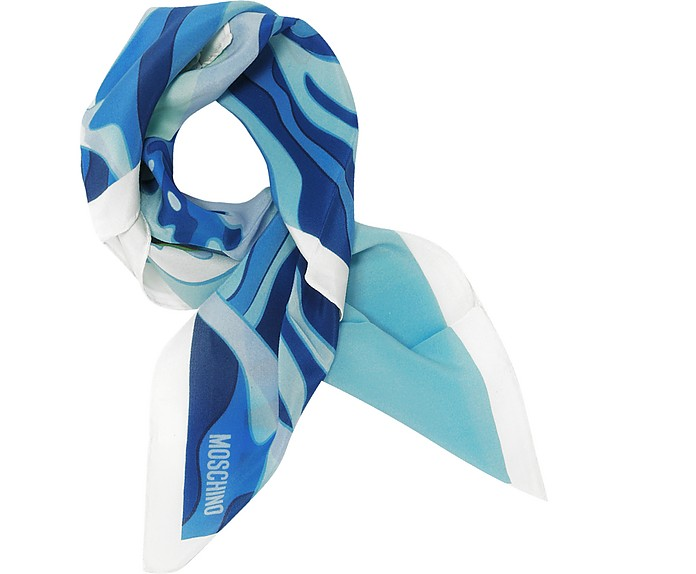 White & Multicolor Teddy Bear and Dolphin Print Crepe Silk Bandana  - Moschino