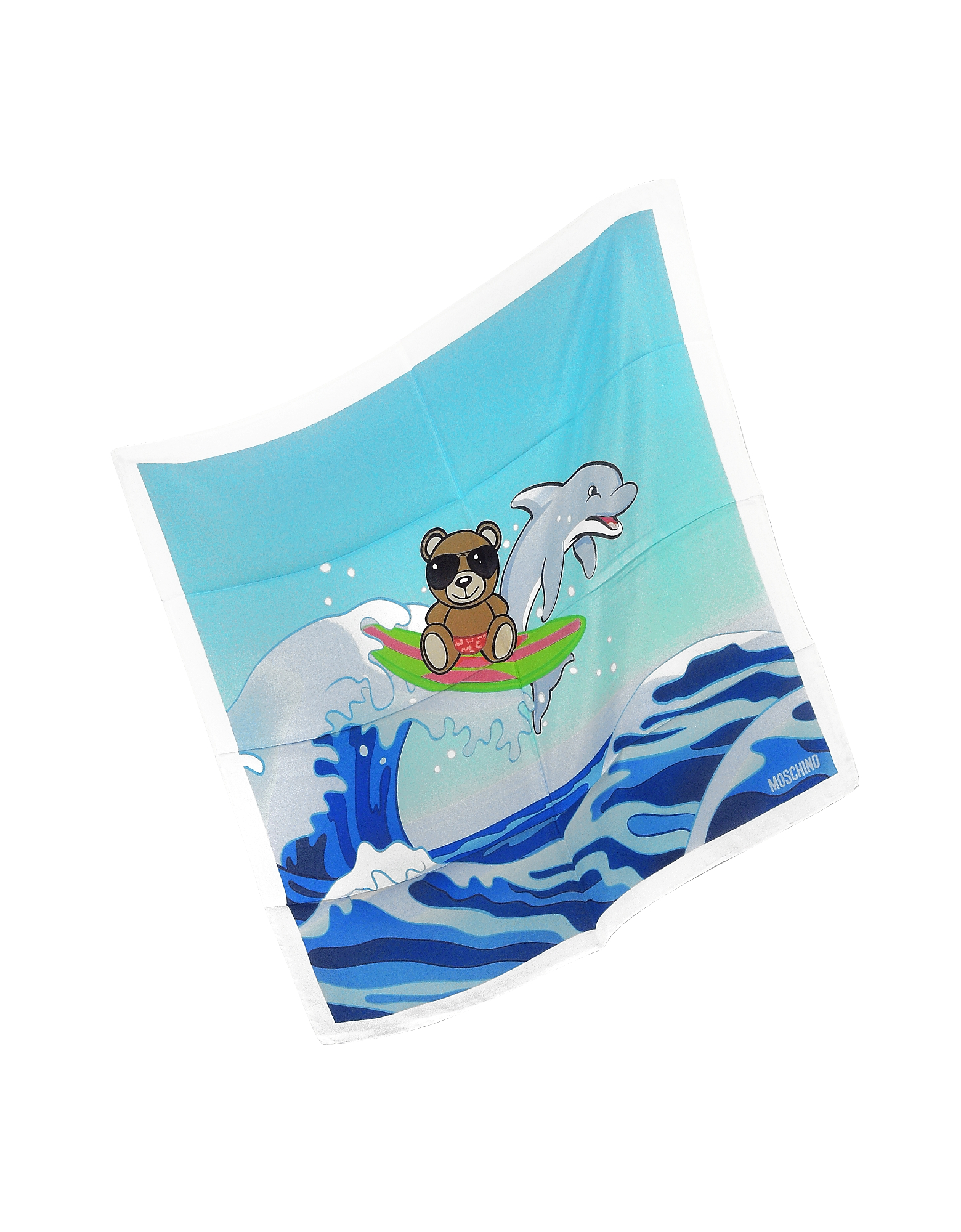 White & Multicolor Teddy Bear and Dolphin Print Crepe Silk Bandana от Forzieri.com INT