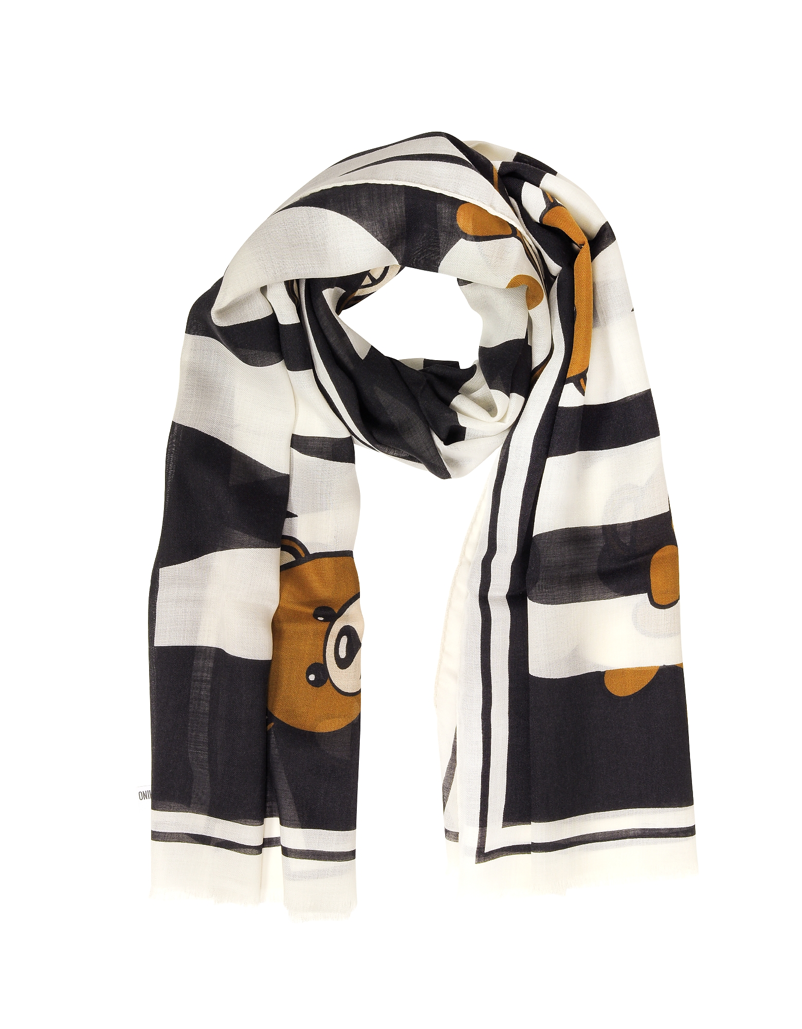Teddy Bear Printed Cashmere, Wool and Silk Stole