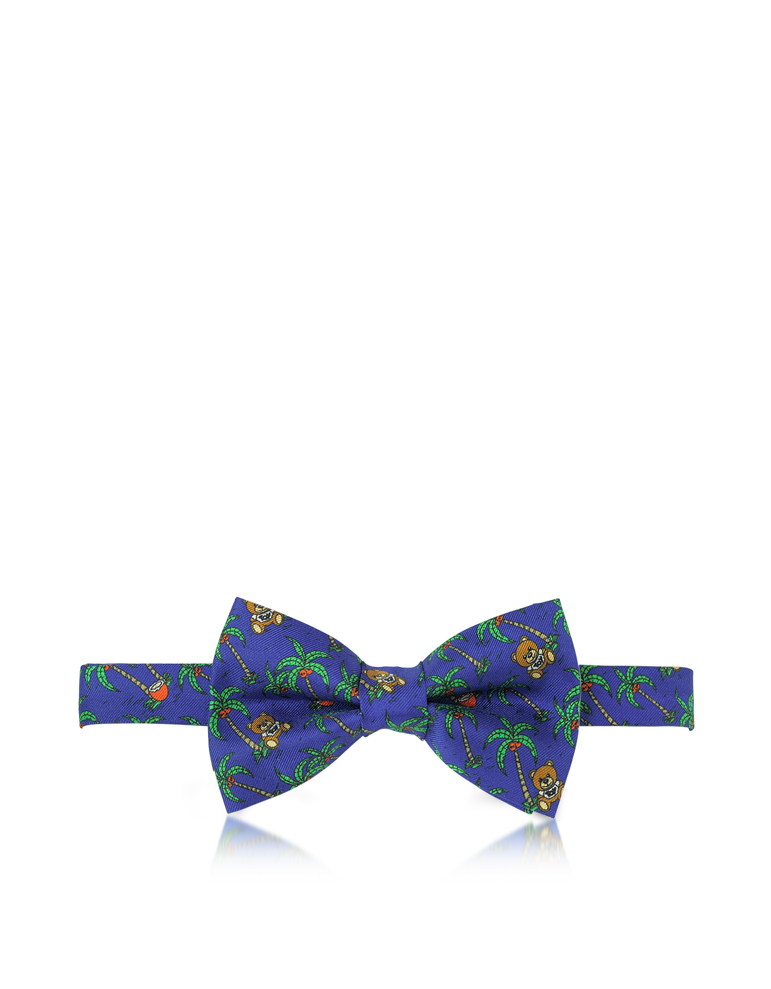 Image of Blue Palms and Teddy Bears Printed Twill Silk Pre Tied Bow Tie