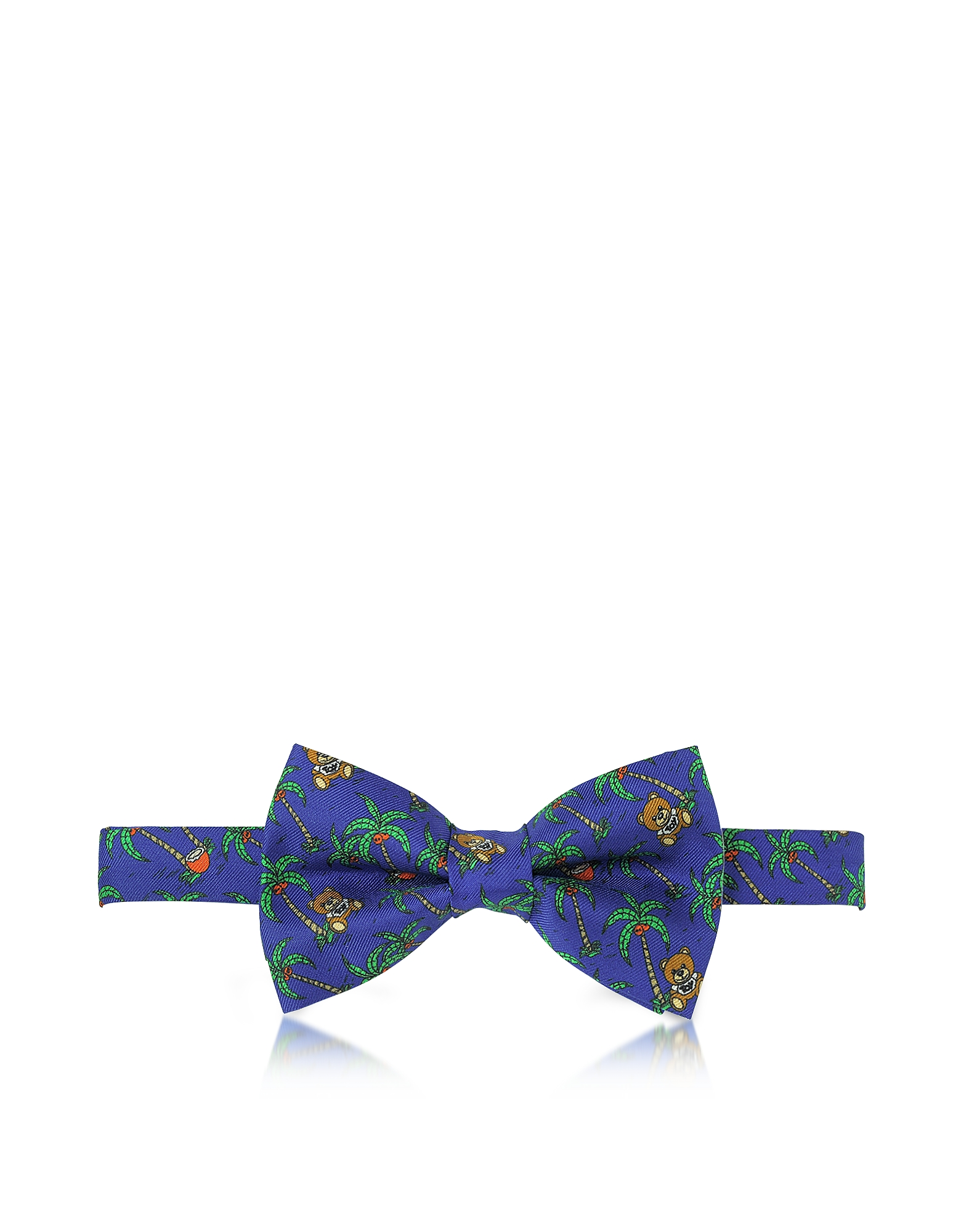 Moschino Bowties and Cummerbunds, Blue Palms and Teddy Bears Printed Twill Silk Pre Tied Bow Tie